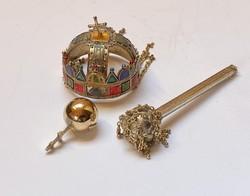 Magyar koronaékszerek, aranyozott ezüst miniatűrök.