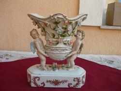 Egy gyönyörű Antik áttört szélű angyalkás asztalközép kínáló. Hibátlan! LEÁRAZVA!