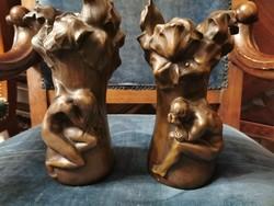 Ádám és Éva kiűzetése a paradicsomból - bronz vázák