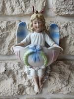 Antik szentelt víz tartó angyalka szàrnyas, gyönyörű különleges darab