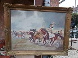 Gyönyörű 70*90 cm-es lovas festmény Blondel keretben, nosztalgia darGyönyörű vágtató lovas fogat