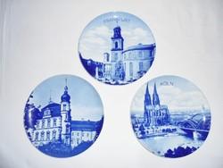Kék fehér porcelán fali falra akasztható dísz tányér - Frankfurt Oldenburg Köln - Hutschenreuther