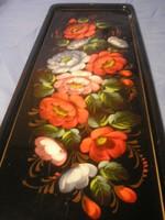 Tk Antik 44 x15.5 -cm zománc festett  magasfényű virág díszes falra is akasztható tálca ritkaság