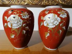 Régi Wallendorf Porcelán Goldrelief Handgemalt váza párban (Ér-539)
