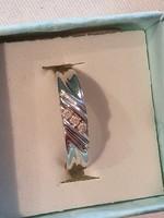 10K fehérarany karikagyűrű 3 gyémánttal