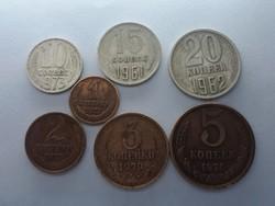 Orosz 1, 2, 3, 5, 10, 15, 20 Kopek sor - 7db Kopek pénzérme 1961-1979-ig - Kopek LOT eladó