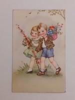 Régi képeslap 1942 virágok gyerekek levelezőlap