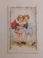 Régi képeslap 1942 gyerekek virággal levelezőlap