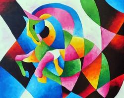 Preszy: KUBISTA LÓ festmény 40x50(x2cm) feszített vászon