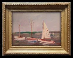 Bánfi József (1936- ) Hajók a Balatonon (Keszthely) - Szépen megfestett látkép a 70-80-90-es évekből