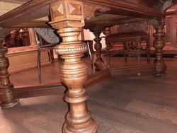 Hatalmas antik asztal 160 x 115 cm + kihúzható 4 méteresre