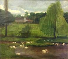Mányai József (1875 —?):Park részlet kacsákkal,o-v,kerettel :64 x 72 cm