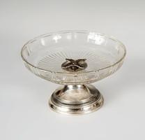 Ezüst talpú üveges asztalközép / kínáló