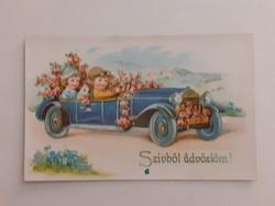 Régi képeslap 1942 gyerekek autóval levelezőlap