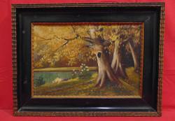 Mayer B.: 'Öreg fa odúval' - Vidéki tájkép ábrázolás hozzáillő, régi keretben a 20-30-as évekből