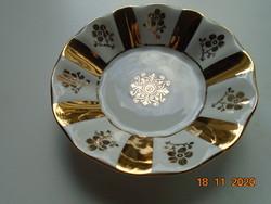Kézzel festett arany mintás Lessau Concordia Lesov antik cseh tálka