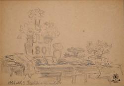 Dolányi Benczúr Ida: Születésnapi asztal, 1956. okt. 3  - rajz a művész hagyatékából