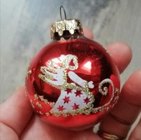 Kézműves piros, aranyglitteres gömb karácsonyfadísz