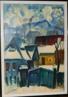 Páll Lajos: Korond, 1994 - keretezett akvarell