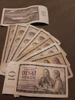 9 x 10 korona Csehszlovákia 1960