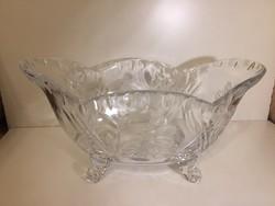 Nagy, metszett kristályüveg kínáló tál, kosár - crystal glass bowl (13)