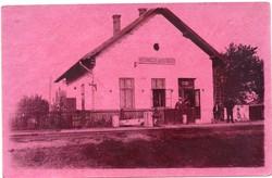 Gombos vasútállomás (Bogojevo) képeslap 1929