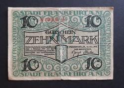 Németország , Frankfurt 10 Márka 1918, Vg.