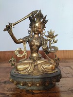 Buddhista tibeti szobor! Manjushri ábrázolás.