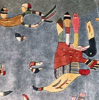 """Wassily Kandinsky """"Sky Blue"""" festmény után, kézicsomózású selyem, török fali szőnyeg 84x92cm"""