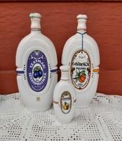 Hollóházi  Várda Ó-barack szilva körte kulacsok pálinkás butella Pálinka Nosztalgia porcelán