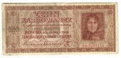 10 karbowanez 1942 Német megszállás Ukrajna 3.