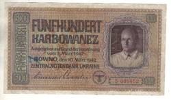 500 karbowanez 1942 Német megszállás Ukrajna 1.