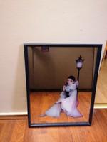 Tükör Pierrot motívummal. Gyönyörű, keretezett, nagyon szép állapotban.