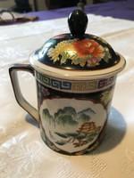 Álomszép Kinai kézzel festett aranyozott fedeles porcelán bögre.