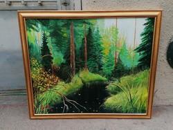 PINTÉR 96' erdőbelső olaj-vászon tájkép festmény