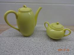 Régi sárga Zsolnay teás  vagy kávés kanna (kiöntő) és cukortartó