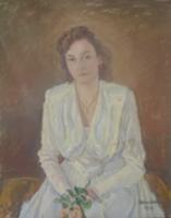 """Női portré, 1949 - olaj, vászon, 80x100 cm, """"Barabás"""" jelzéssel"""