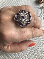 Nagy méretű szikrázó köves ezüst gyűrű