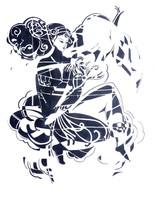 Sütő Éva: Ritka virág (tus-papír) 70x50 cm