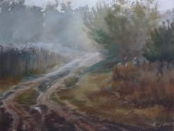 Harsányi Zsuzsanna: Októberi hajnal (pasztell-karton) 50x65 cm