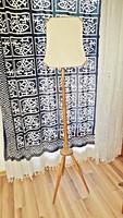 Retró, 3 lábon álló, fából készült állólámpa, választható régi, textil ernyőkkel.