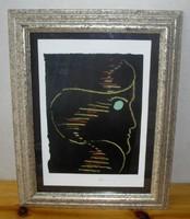 Lossonczy Tamás (1904-2009) Női fej - művészi nyomat keretezve