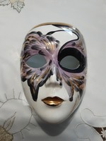 Nagy gyönyörűen festett, velencei aranyozott, porcelán maszk - 1986. Jesoló