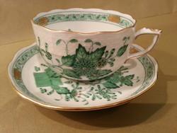 HERENDI zöld indiai kosaras teáscsésze aljjal