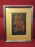 Ónodi Ferenc :  Kompozició     vegyes technika      16x24 cm