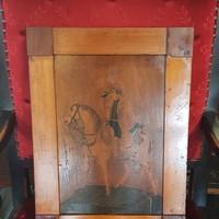 Antik intarzia kép (Napóleon) 41,5x30,5cm kerettel együtt