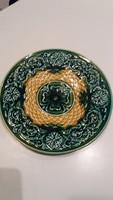 Josef Steidl, Znaim: zöld majolika tányér, hibátlan, 20 cm