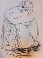 BORSOS MIKLÓS: Pihenő leány, rézkarc 1967 (női portré, hölgy arckép, fiatal, egyszerűség, báj)