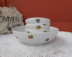 Ritka Alföldi gyümölcsös porcelán kompótos készlet, szilva,körte, alma szőlő