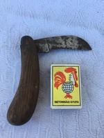 Régi jelzett fa markolatú bicska kés